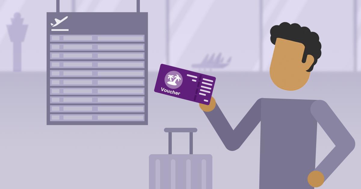 Man op vliegveld met voucher in zijn hand. Achter hem een vertekbord waar geen enkele vlucht op staat.